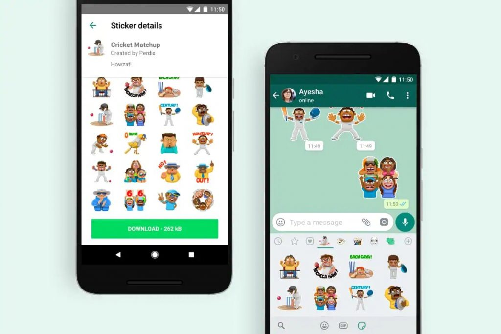 How to send a Cricket sticker in WhatsApp